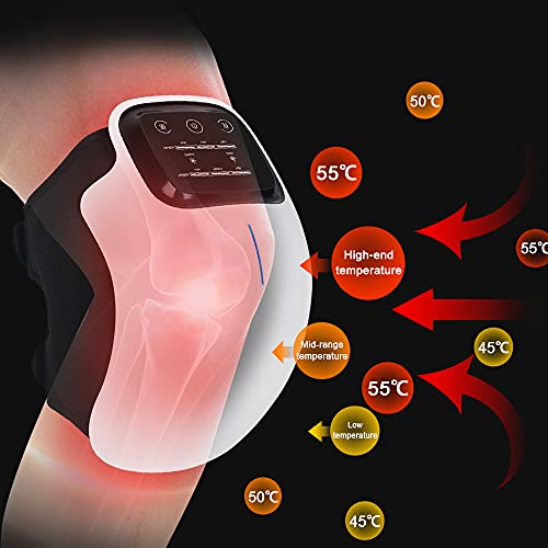 Fippurk Knee Massager with Heat and Kneading for Pain Relie,Infrared Heated Vibration Physiotherapy for Arthritis Massager,Cramps and Joint Warmer Rechargeable LED Display