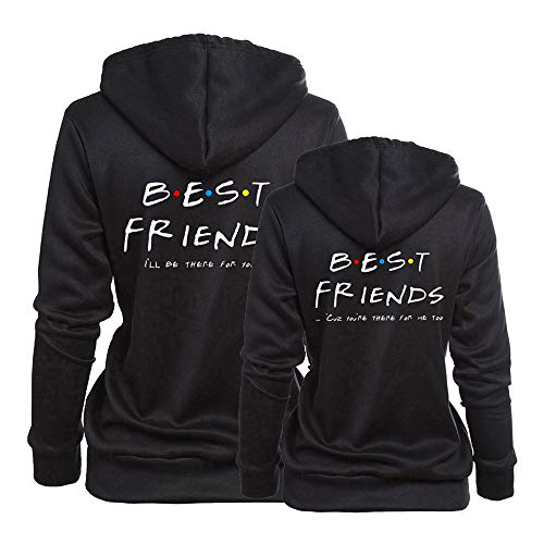 Best Friends Hoodies for 2 Girls BFF Matching Sweatshirt Sister Couple Hooded Pullover for Teen Girls