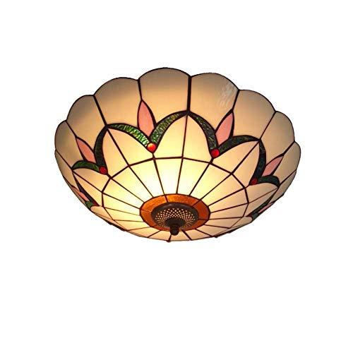 LG Snow * Lámpara de techo estilo Tiffany, lámpara de techo con pantalla de sombra de vidrio con montaje semi-empotrado Mediterráneo retro creativo para estudio de restaurante en el dormitorio E27-A-5