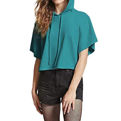 GreatestPAK Damen Taschen Kordelzug Rosa Kurzarm Kapuzenpullover Lässig Oberteile Sommer Einfarbig T-Shirt Kapuze Sweatshirt
