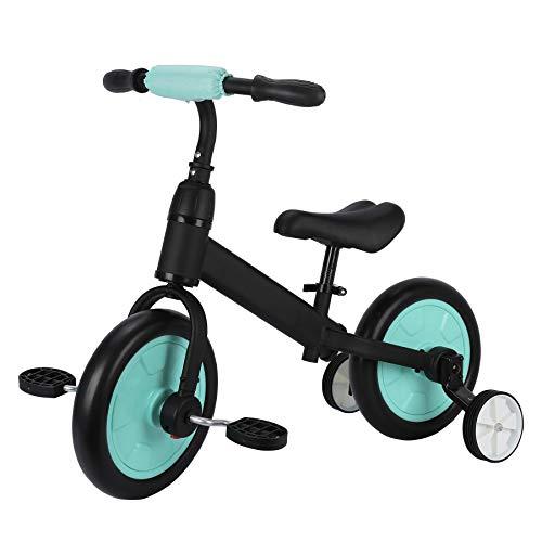 Sfeomi 12' Bicicletta Senza Pedali per Bambini, Bici Equilibrio da Allenamento Regolabile con Pedali Ruota Ausiliaria Removibile Balance Bike Sicuro e Bello (Verde)