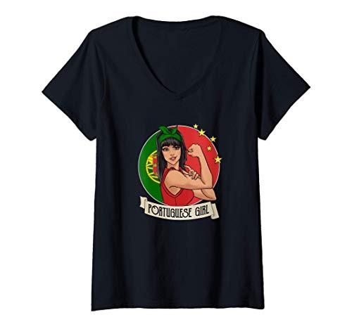 Femme Fille portugaise Portugal T-Shirt avec Col en V