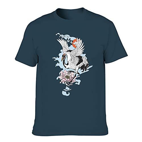 Camiseta para hombre duradera japonesa con diseño de grúas rojas coronadas por el sol azul marino XXXL