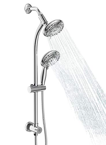 "Egretshower Handheld Showerhead & Rain Shower Combo for Easy Reach , 27.5"" Drill-free Stainless Steel Slide Bar, 5""of 5-setting Handheld Shower and Showerhead, with 5ft Hose - Polished Chrome"