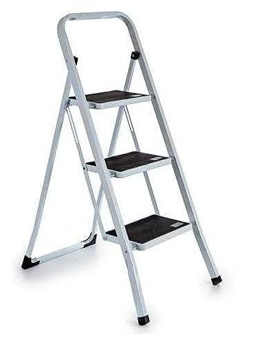 TU TENDENCIA UNICA Escalera Metal Plegable Blanca 3 escalones Negros