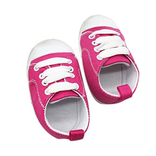 Bébé Chaussures en Toile,LMMVP Chaussures Pour Tout-petits Antidérapant Semelle Souple en Composite Solide Lacer Chaussures en Toile (11, Mode rose vif)