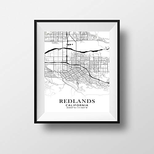 Redlands, California Minimalist Map - Poster Print Artwork - Professional Wall Art Merchandise - Coordinates, Black and White