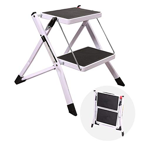 CAMPMAX 2 Step Stool Folding Step Ladder for Adults Lightweight Sturdy Small Ladders for Kitchen Household Supports 250lbs Capacity White