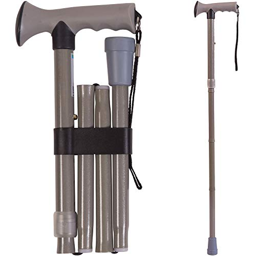 Folding Walking Cane Collapsible Walking Stick  Adjustable Medical Foldable Cane for Men and Women  Contoured Handle Gray