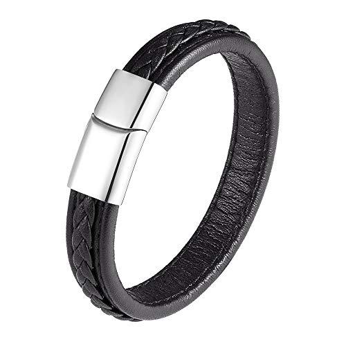 Era glamour moda cuero pulsera mujeres hecho a mano pulsera de acero inoxidable pulsera magnética hebilla hombres pulsera regalos 21 cm