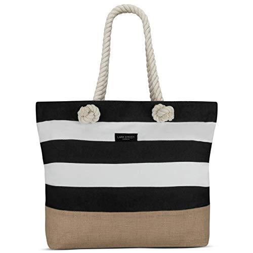 LARK STREET Strandtasche Schwarz Gestreift Beach Bag Damen & Herren aus robustem Baumwoll Canvas & Jute - Badetasche mit breiten Kordeln für angenehmen Tragekomfort - Große Tasche mit Reißverschluss