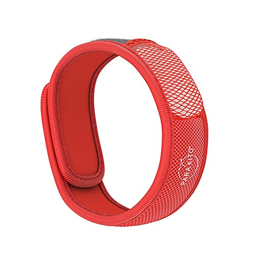 PARA'KITO Mosquito Insect & Bug Repellent Wristband - Waterproof, Outdoor Pest Repeller Bracelet w/ Natural Essential Oils (Red)