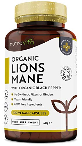 Organic Lions Mane Mushroom Capsules with Added Organic Black Pepper - 120 Vegan Capsules - Yamabushitake Supplement - No Synthetic Binders or Fillers - Made in The UK by Nutravita
