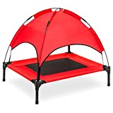 Best Choice Products Raised Mesh Cot Cooling Dog Bed, 30in, Red, w/Removable Canopy Shade Tent, Travel Bag, Breathable Fabric