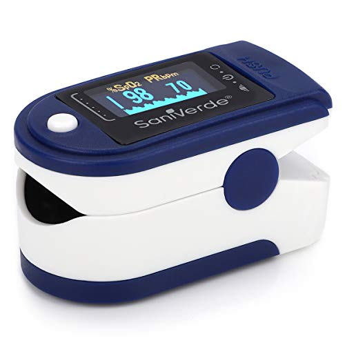 SaniVerde® PulsOximeter mit 360° LED Anzeige in 5 Farben - Finger Oximeter, Pulsoxymeter, Messgerät für Sauerstoffsättigung und Puls mit Tasche (Navy-Blue)