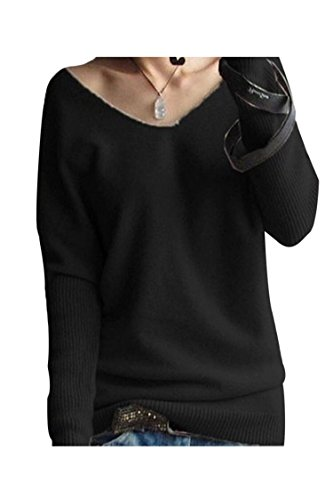 LONGMING Women's Fashion Big V-Neck Pullover Loose Sexy Batwing Sleeve Wool Cashmere Sweater Winter Tops(Black, L)