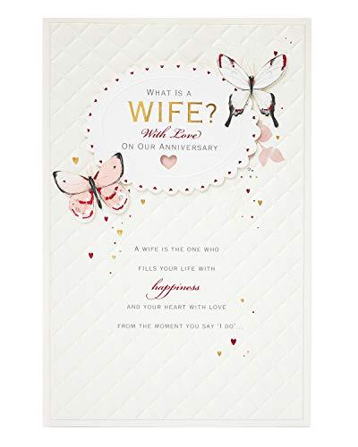 Hochzeitskarte für die Ehefrau – Jahrestagskarte für die Ehefrau – Hochzeitskarte – Jahrestagskarte groß – luxuriöse Jahrestagskarte für sie – Jahrestagsgeschenke Frau – Geschenkkarte für sie