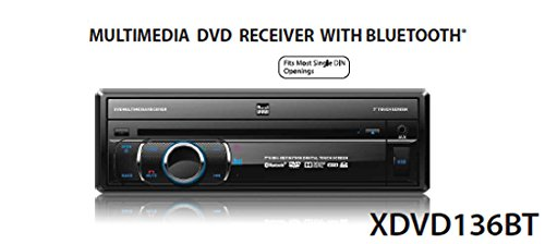 "Dual XDVD136BT Multimedia Retractable & Detachable 7"" TFT Touchscreen Single DIN Car Stereo Receiver with Built-in Bluetooth, CD/DVD, USB, SD Card & MP3 Player"
