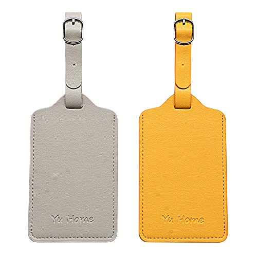 2PCS Premium Leather Luggage Tags, Personalized Striking Double Luggage Tag, Durable Travel Tags with Privacy Flap, Cruise Ships Carnival Honeymoon Bag Tags Set (Yellow + Gray)