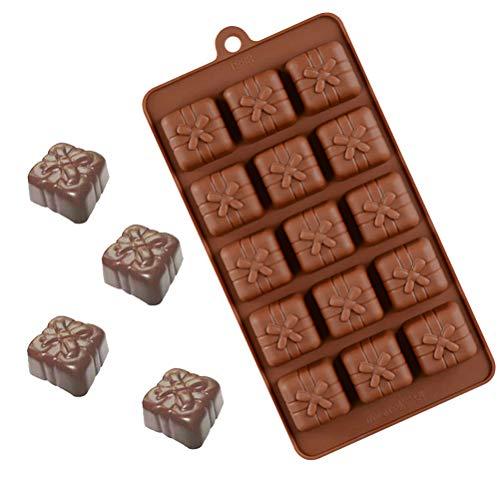 Wination Molde reutilizable de 15 cavidades de silicona para torta de jabón, cera de caramelo, chocolate, moldes para tartas y herramientas para hornear