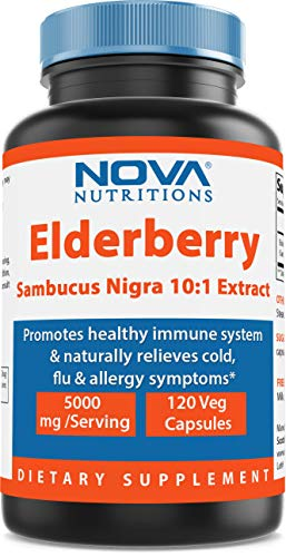 Nova Nutritions Elderberry Sambucus Nigra 10:1 Extract, 5000mg Equivalent, 120 Veg Capsules - Naturally relives Allergy Symptoms - Promotes Healthy Immune System