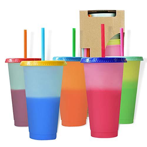 DANMO 5 tazas frías reutilizables de 24 onzas que cambian de color, plástico mágico, botellas de agua de café, con cubiertas y pajitas, para familia, amigos