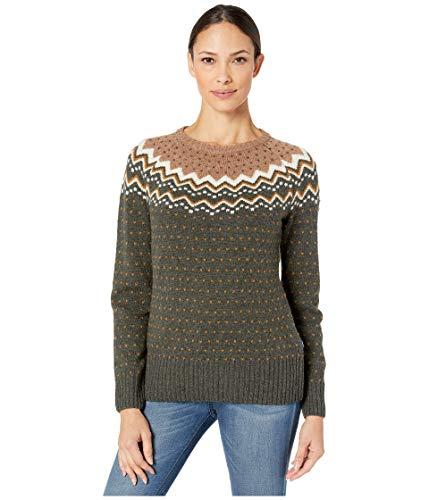 FJALLRAVEN Damen Övik Knit Sweater W. Trikot, Dunkles Waldgrün, XL