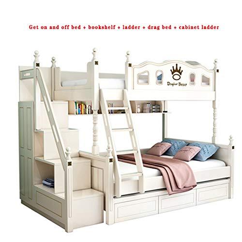 WSN Twin über Volletagenbett mit Treppe, Doppel-Hochbett Holz Etagenbettrahmen mit seitlichen Ablagefächern, einfache Montage, für Kinder Jugendliche