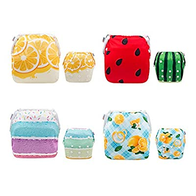 ALVABABY Baby Swim Diapers 4pcs Reuseable Adjustable for Swimming Lesson Baby Shower Gifts 3SW33