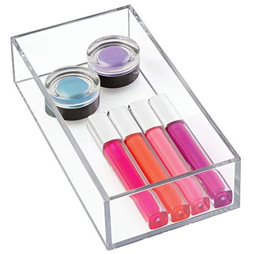 iDesign Aufbewahrungsbox für Bad, Küche oder Büro, kleine Schubladenbox aus BPA-freiem Kunststoff, stapelbarer Kosmetik Organizer für Schminke, durchsichtig, S: 10 cm x 20,3 cm