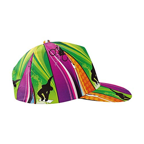 InterestPrint Cool Extreme Sports Surfing Bmxing Unisex All Over Print Adjustable Snapback Hat Cap