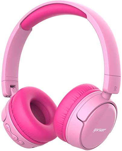 gorsun Wireless kids headphones with 85dB volume regulator, Children's Wireless Bluetooth Headphones with Microphone, Foldable bluetooth Stereo over-Ear kids headsets Pink
