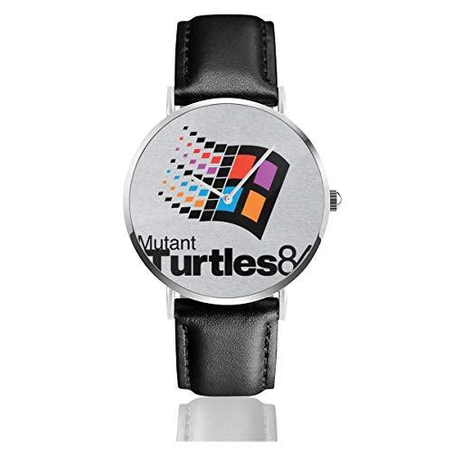 Unisex Business Casual Mutant Turtles 84 TMNT Windows Logo Uhren Quarzuhr Lederband schwarz für Herren Damen Young Collection Geschenk