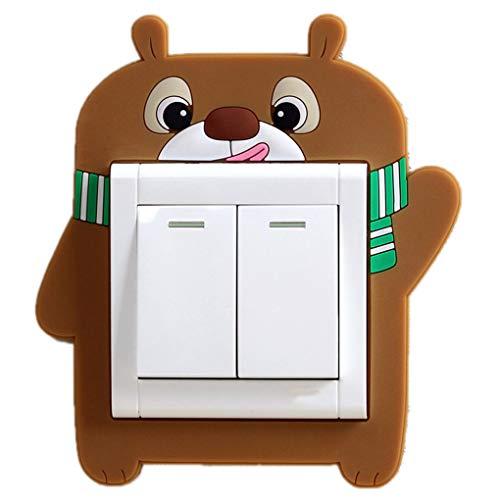 Dibujos Animados Luminoso Luminoso Interruptor de Luz Socket Pasta Cubierta Protectora Sala de Estar Pegatinas Decorativas Chenhuanbakeyji (Color : Lele Bear)