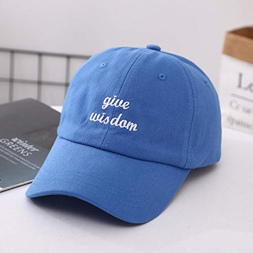 Axlgw Teenager Baseball Cap Fitted Hat Panel Hip Hop Snapback Hüte Give Wisdom Stickerei Knochenkappe für Männer Frauen Streetwear blau China_verstellbar
