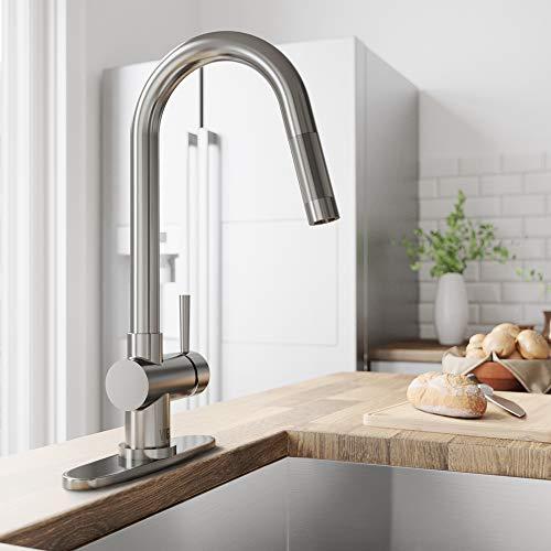 VIGO VG02008STK1 Gramercy 17 Inch Single Handle Pulldown Arc Brass Kitchen Sink Faucet with Deck...
