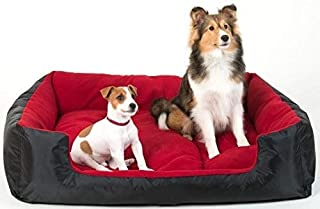 Comfy Heavy Polyfiber Filled Bottom Dual Side Usable Waterproof Dog and Cat Bed (Red, Medium)
