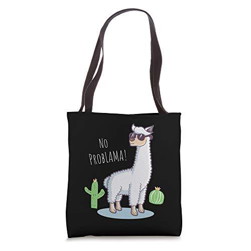 Llama No Problama - Funny Lama Cactus Design Tote Bag