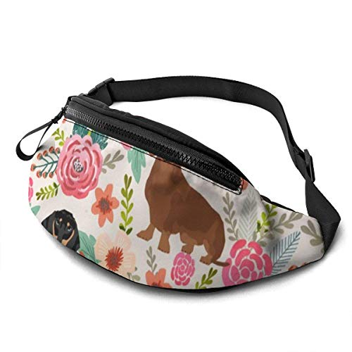 Harla Unisex Casual Waist Bag Doxie Florals Dachshund Black and Tan and Brown Dachshund Design Cream Fanny Pack Money Bum Bag with Adjustable Belt for Running Sports Climbing Travel