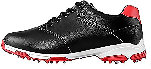 POSMA PGM-XZ051 Anti-Skid Waterproof Golf Shoes with Spikes for Men, Size US 9.5 /UK 8.5 /EU 44 Black
