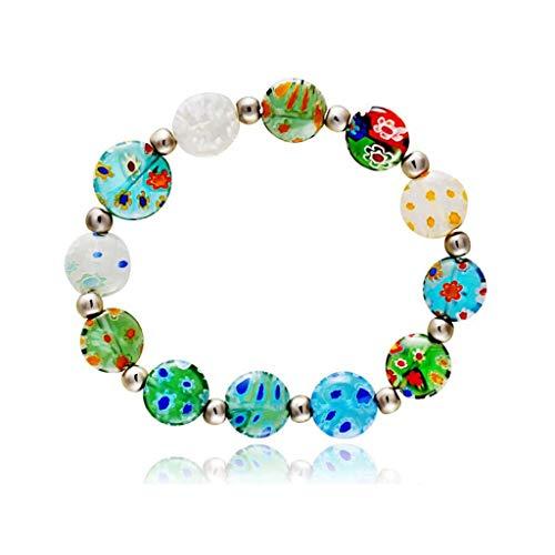 TD X41257 Armband Farbe tausend Blumen farbiges Glas süße elastische Kraft Armband weiblich wild