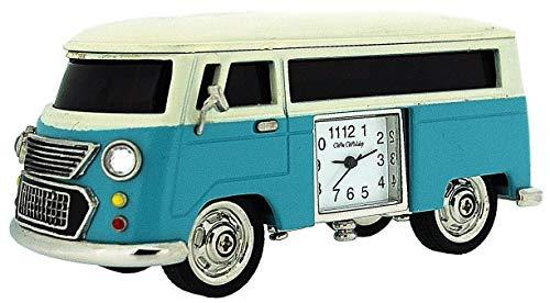 Miniatur Sammleruhr für den Schreibtisch, Miniatur Campingwagen blau 9710BL