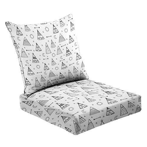 MVEMOEMCA Teepees Main Stock Illustration Deep Seat Cushion Set Plush Surface Backrest and Seat Cushion Outdoor Indoor Furniture Replacement Cushions