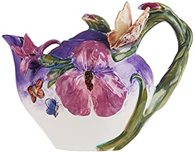 "Blue Sky Ceramic Blue Bella Violet Butterfly Teapot, 9.5 x 6 x 7"""