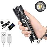 Dyna-Living LED Taschenlampe 8000LM, Taschenlampe Extrem Hell, Taktische Taschenlampe Zoombar mit 5 Modi, USB Aufladbar Wasserdichte Camping Flashlight