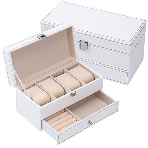 Caja de Reloj con cajón de Valet para Hombres, Organizador de exhibición de Caja de Reloj de 12 Ranuras, diseño de Fibra de Carbono - Hebilla de Metal para Hombre Joyero Blanco 9x4x4 Pulgada