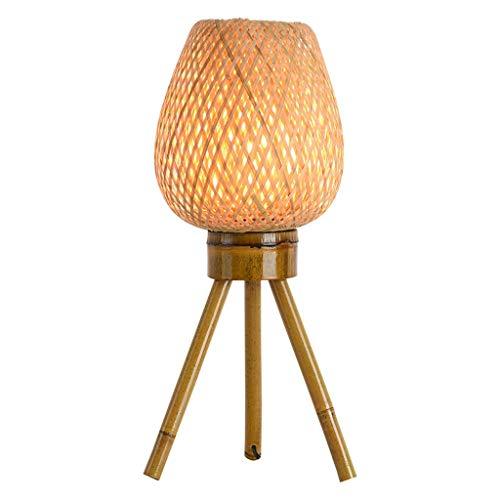 Lámpara de mesita de noche Lámpara de mesa retro china de 18 'Pantalla de tejido de bambú natural Lámpara de noche creativa hecha a mano para sala de estar Dormitorio familiar Lámpara de escritorio de