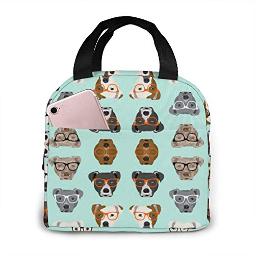 Lawenp Cute Pitbulls Lunch Bag for Women Girls Insulated Picnic Pouch Thermal Cooler Tote Bento Meal Prep Cute Bag Leakproof Soft Bags for Lunch Box, Camping, Travel, Fishing