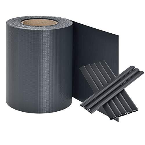 Juskys PVC Sichtschutzstreifen Zaunfolie 35m Rolle Inklusive 30 Befestigungsclips - Anthrazit Bild