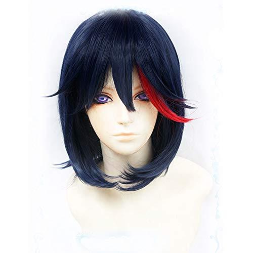 Anime de alta calidad KILL la KILL Matoi Ryuko corto azul con pelo rojo resistente al calor Cosplay disfraz peluca + pista + gorra de peluca